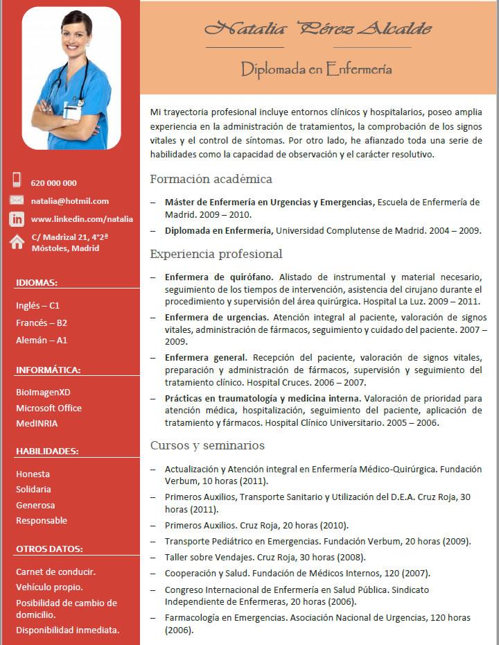 el curriculum perfecto para enfermeros